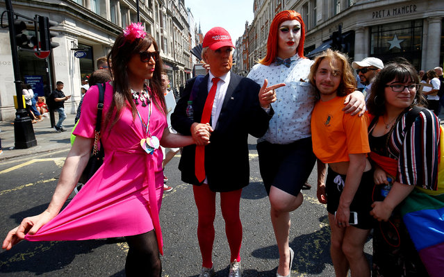 A participant dressed as U.S. President Donald Trump, takes part in the annual Pride in London parade, in London, Britain July 7, 2018. (Photo by Henry Nicholls/Reuters)