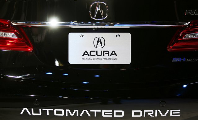 The back end of the test vehicle Acura is using to test its autonomous Automated Drive car is pictured at the 2016 Los Angeles Auto Show in Los Angeles, California, U.S November 16, 2016. (Photo by Mike Blake/Reuters)