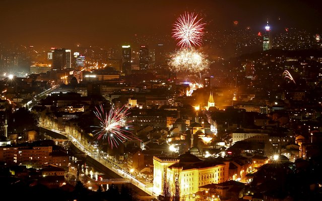Fireworks explode during New Year's celebrations in Sarajevo, Bosnia and Herzegovina, January 1, 2016. (Photo by Dado Ruvic/Reuters)