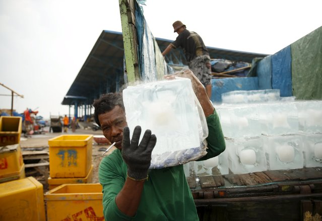 A worker carries an ice cube at Muara Angke fish auction market in Jakarta, January 4, 2016. (Photo by Reuters/Beawiharta)