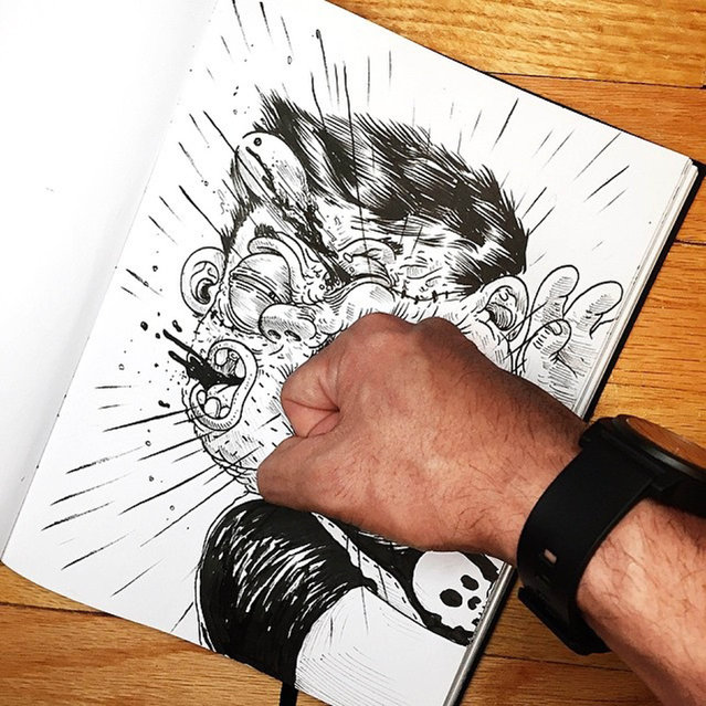 A quirky cartoonist challenged his own creation to a fight – but he could only draw. US artist Alex Solis, 31, from Chicago, Illinois, drew his skull t-shirt-wearing alter ego, who he calls Chuck, smashing his phone and stabbing his finger in his Inkteraction pictures. But Alex got his own back with a punch to Chucks jaw before squashing him against the bottom of the page. (Photo by Alex Solis/Caters News)