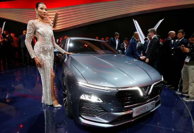 The VinFast Lux A2.0 car is on display at the Auto show in Paris, France, Tuesday, October 2, 2018, 2018. (Photo by Regis Duvignau/Reuters)