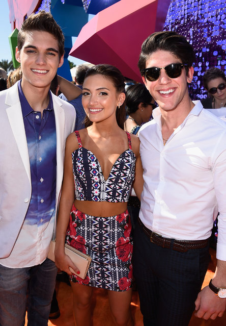 (L-R) Actors Nick Merico, Daniela Nieves and Rahart Adams attend Nickelodeon's 28th Annual Kids' Choice Awards held at The Forum on March 28, 2015 in Inglewood, California. (Photo by Frazer Harrison/Getty Images)