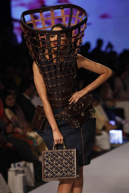 A model presents creations by a Pakistani group of fashion students at Fashion Pakistan Week 2015 , Tuesday, March 31, 2015 in Karachi, Pakistan. (Photo by Shakil Adil/AP Photo)