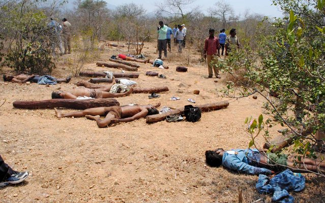 The bodies of suspected sandalwood smugglers, who were killed in an encounter with a joint team of special police and forest personnel, lie in the Seshachalam forest of Chittoor district in the southern state of Andhra Pradesh on April 7, 2015. At least 20 people were killed when police opened fire April 7 on loggers who attacked them with axes and stones in an area of southern India known for sandalwood smuggling. (Photo by AFP Photo/Stringer)