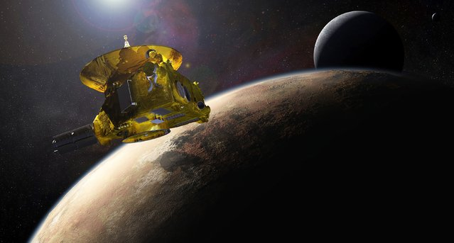 An artist's impression of NASA's New Horizons spacecraft encountering Pluto and its largest moon, Charon, is seen in this NASA image from July 2015. The first spacecraft to visit distant Pluto, a dwarf planet in the solar system's frozen backyard, is still three months away from a close encounter, but already in viewing range, newly released photos show. (Photo by Reuters/NASA/Applied Physics Laboratory/Southwest Research Institute)