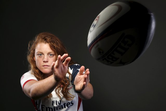 "Rugby player Alev Kelter poses for a portrait at the U.S. Olympic Committee Media Summit in Beverly Hills, Los Angeles, California March 8, 2016. ""Right now I tend to be more poised when I'm getting ready for a game, so I listen to Ed Sheeran's 'Fire"", said Kelter. (Photo by Lucy Nicholson/Reuters)"