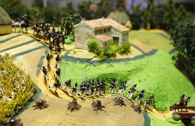 Figurines representing the Prussian army are seen on a 40-square-metre miniature model of the June 18, 1815 Waterloo battlefield, in Diest, Belgium, in this picture taken on April 29, 2015. (Photo by Francois Lenoir/Reuters)