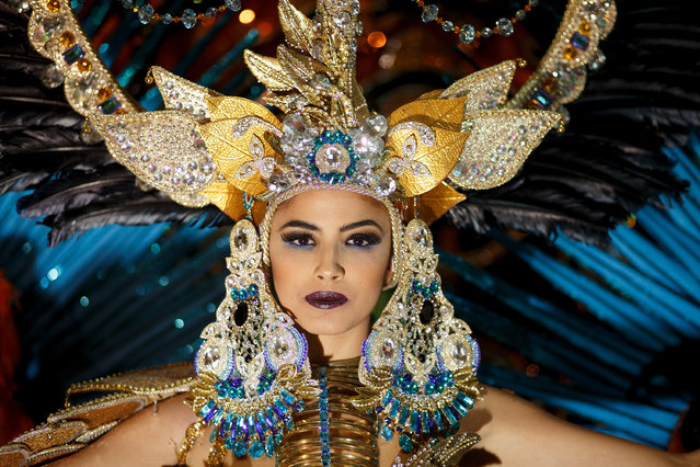 Nominee Amanda Perdomo poses for photographs at backstage before she was elected as Queen of the 2013 Santa Cruz carnival on February 26, 2014 in Santa Cruz de Tenerife on the Canary island of Tenerife, Spain.  (Photo by Pablo Blazquez Dominguez/Getty Images)