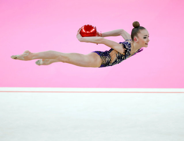 Khrystyna Pohranychna of Ukraine competes in the individual ball category final during the FIG World Challenge Cup Rhythmic Gymnastics in Guadalajara, 05 May 2019. (Photo by Javier Lopez Hernandez/EPA/EFE)