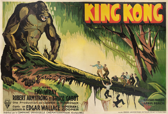 """King Kong (RKO, 1933). French Double Grande (61.5"""" X 92"""") Style A. After premiering in New York City at the Radio City Music Hall in March 1932, the film began doing all-time record box office business. Kong was then released internationally to another tremendous reception, resulting in fabulous posters being produced for its promotion, including this mesmerizing large format French piece by artist Ph. de Buncey. Estimate: $40,000 - $80,000. (Photo by Courtesy Heritage Auctions)"""