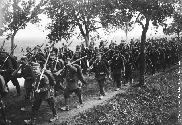 1914: German infantry on manoeuvres in preparation for war