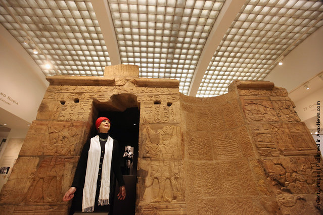 Artist Sue Goddard views the Shrine of Taharqa in the Ashmolean Museum's new exhibition of artifacts from ancient Egypt and Nubia