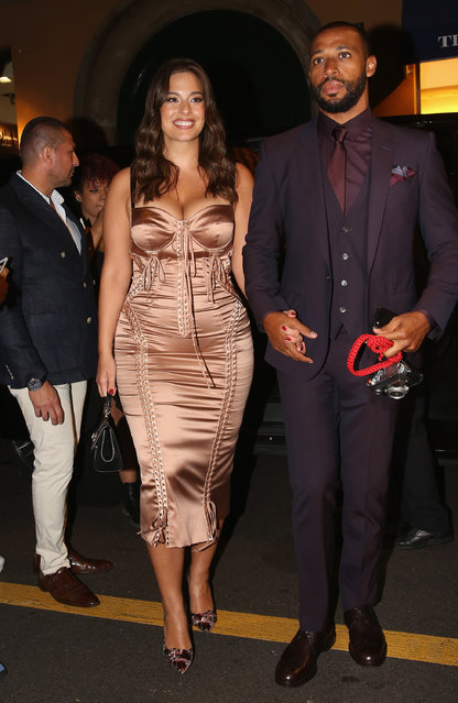 Ashley Graham and Justin Ervin arrive at the Domenico Dolce birthday party during Milan Fashion Week Spring/Summer 2019 at Four Seasons Hotel on September 23, 2018 in Milan, Italy. (Photo by Vincenzo Lombardo/GC Images)