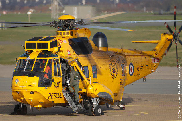 A Royal Air Force search and rescue helicopter prepares to leaves RAF Valley as the search continues for the crew of cargo vessel The Swanland which sank off north Wales on November 27, 2011 in Anglesey, Wales