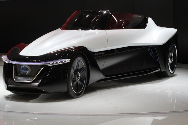 """A Nissan Zero Emission car on display at the China International Exhibition Center new venue during the """"Auto China 2014"""" Beijing International Automotive Exhibition in Beijing on April 20, 2014. (Photo by AFP Photo)"""