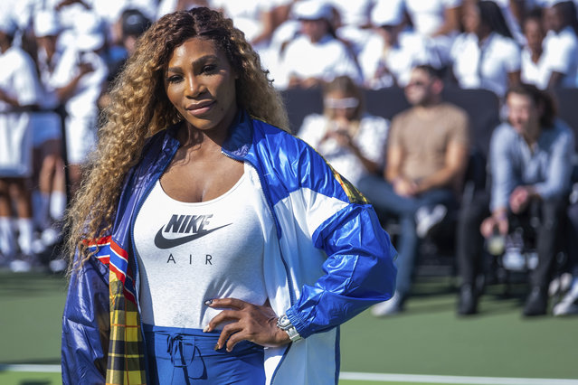 "Serena Williams attends the Nike ""Queens of the Future"" tennis event at the William F. Passannante Ballfield on Tuesday, August 20, 2019, in New York. (Photo by Charles Sykes/Invision/AP Photo)"
