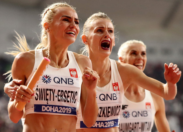 Silver medalists from Poland react after the the women's 4x400 meter relay final at the World Athletics Championships in Doha, Qatar, Sunday, October 6, 2019. (Photo by Lucy Nicholson/Reuters)