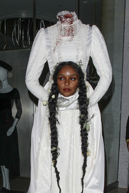 Janelle Monae put on a very creepy display dressed as a headless bride as she was seen at The Allbright in West Hollywood for Beyonce and Jay Z's A-List Halloween bash on October 31, 2019. Janelle was fully in character as she kept a straight face, wide eyed and marched inside past photographers who complimented her 'great' costume. (Photo by Backgrid USA)