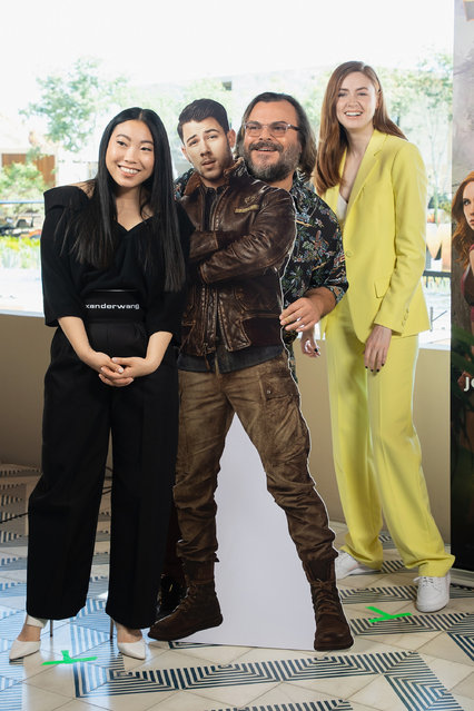 "(L-R) Awkwafina, Jack Black and Karen Gillan attend the international junket of ""Jumanji: The Next Level"" at Montage Los Cabos on November 23, 2019 in Cabo San Lucas, Mexico. (Photo by Victor Chavez/Getty Images)"