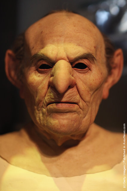 A mask worn by an actor who played a goblin at Gringotts Bank in the Harry Potter Films is displayed at the new Harry Potter Studio Tour at Warner Brothers Leavesden Studios