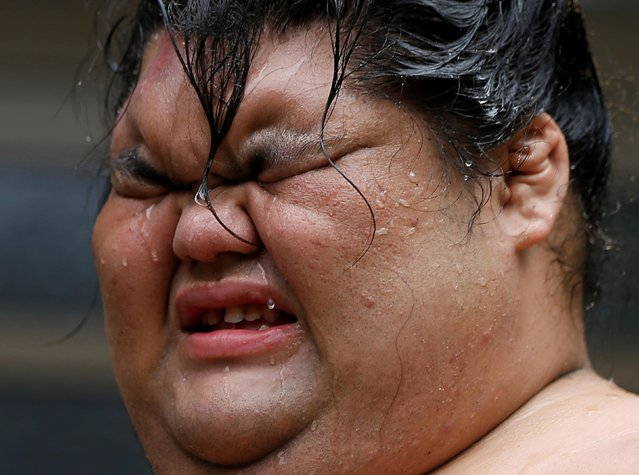 Sumo wrestler Kaiho reacts during a training session in Nagoya, Japan on July 18, 2017. (Photo by Issei Kato/Reuters)
