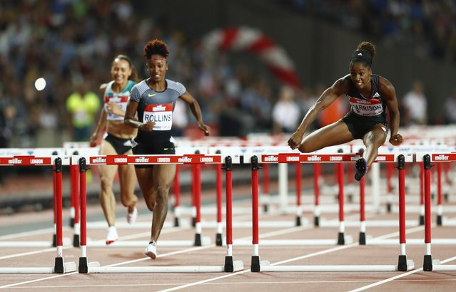 Britain Athletics, 2016 London Anniversary Games, Queen Elizabeth Olympic Park, Stratford, London on July 22, 2016. USA's Kendra Harrison in action on her way to winning the Women's 100m Hurdles final and breaking the World Record. (Photo by Eddie Keogh/Reuters/Livepic)
