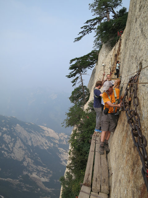 Me on the notorious Plank Path, below the South Peak of Mount Hua, Xian, Shaanxi Province, China