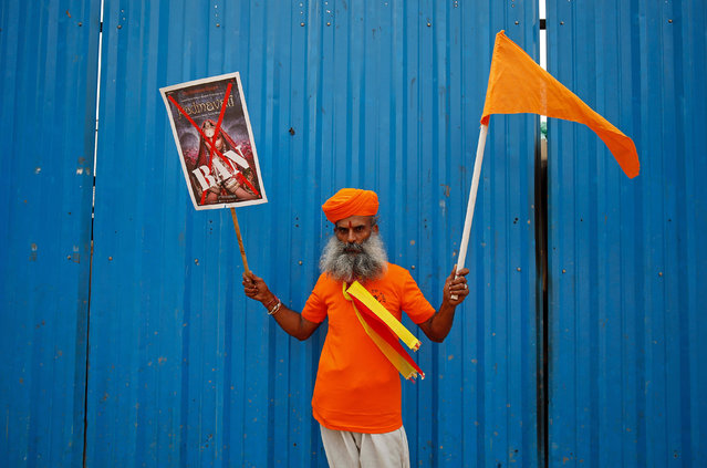 A demonstrator poses during a protest against the release of the upcoming Bollywood movie 'Padmavati' in Bengaluru, November 15, 2017. (Photo by Abhishek N. Chinnappa/Reuters)