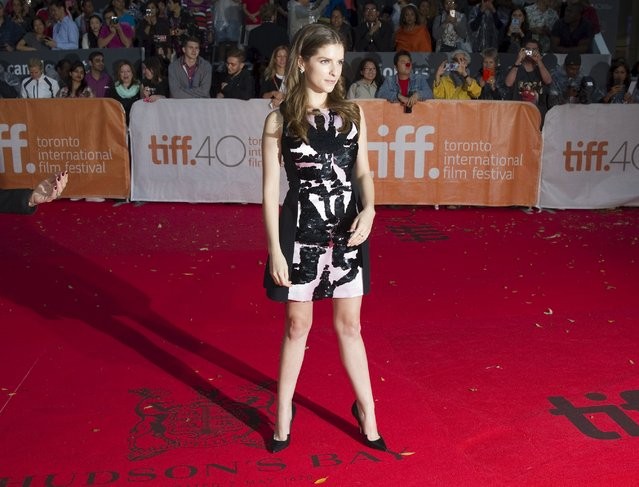 "Actress Anna Kendrick arrives for the premiere of the movie ""Mr. Right"" during the 40th Toronto International Film Festival in Toronto, Canada, September 19, 2015. (Photo by Fred Thornhill/Reuters)"