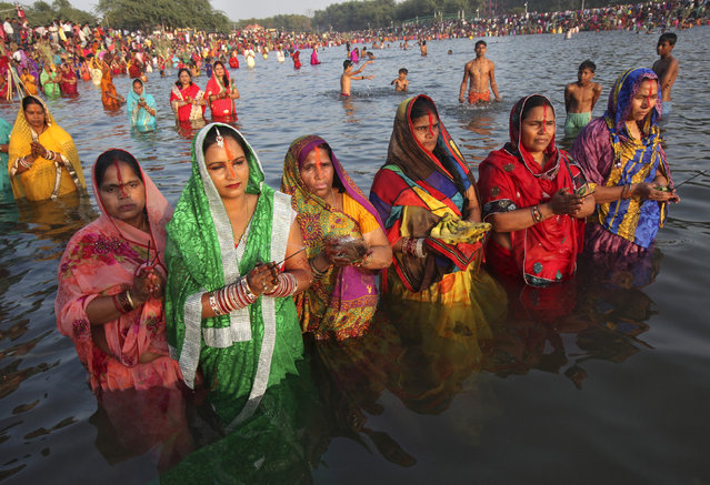 Women worship the Sun god Surya in the waters of the Sun lake during the Hindu religious festival of Chatt Puja in Chandigarh October 29, 2014. (Photo by Ajay Verma/Reuters)