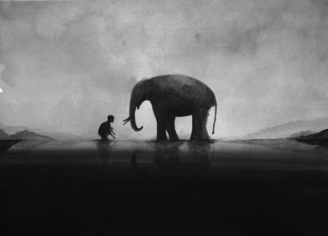 Black And White Watercolors By Artist Elicia Edijanto