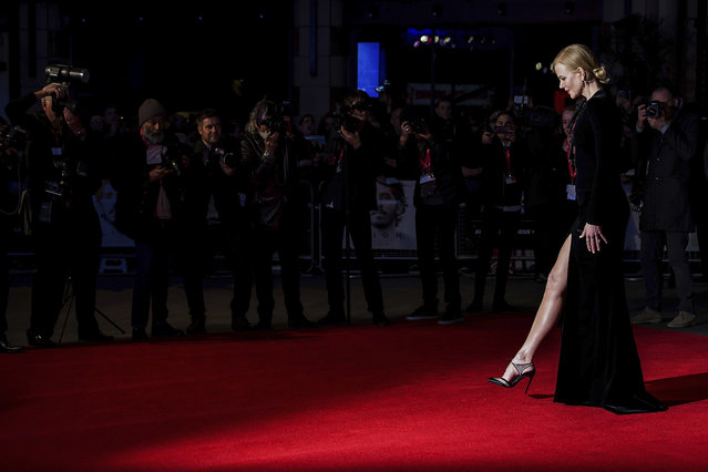 """Actress Nicole Kidman poses for photographers upon arrival at the premiere of the film """"Lion"""", showing as part of the London Film Festival in London, Wednesday, October 12, 2016.  (Photo by Grant Pollard/Invision/AP Photo)"""