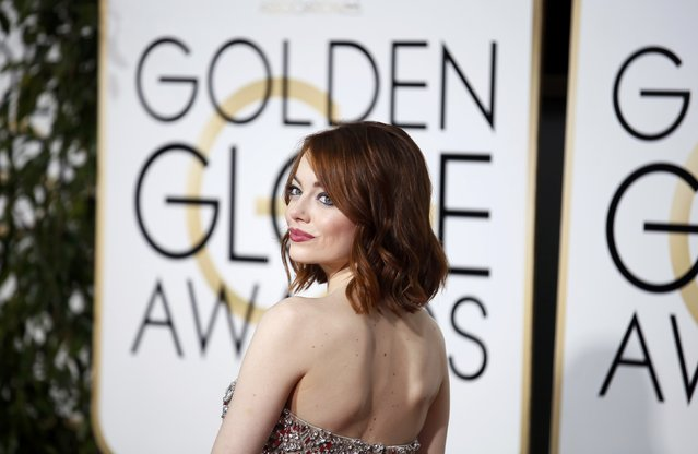 Actress Emma Stone arrives at the 72nd Golden Globe Awards in Beverly Hills, California January 11, 2015. (Photo by Danny Moloshok/Reuters)