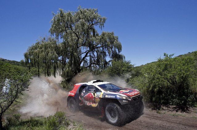 Peugeot driver Stephane Peterhansel of France drives during the 12th stage of the Dakar Rally 2015 fromT ermas de Rio Hondo to Rosario January 16, 2015. (Photo by Jean-Paul Pelissier/Reuters)