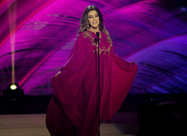 Miss Lebanon, Saly Greige, poses for the judges, during the national costume show during the 63rd annual Miss Universe Competition in Miami, Fla., Wednesday, January 21, 2015. (Photo by J. Pat Carter/AP Photo)