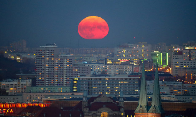 """The colourful moon rises above Berlin, Germany, 14 November 2016. The moon is the largest full moon since 1948 also known as the """"supermoon"""", when the moon reaches its closest point to Earth. The next time the moon will be this close will be on 25 November 2034. (Photo by Kay Nietfeld/EPA)"""