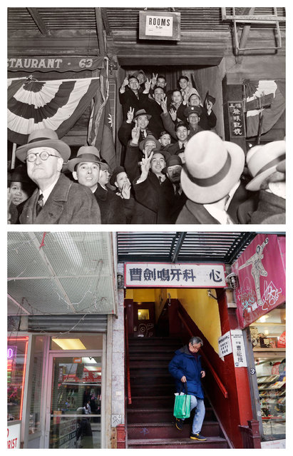 "This combination shows the August 1945 photo ""Victory"" by Weegee, provided by the International Center of Photography in New York, and a woman walking down the same staircase on Wednesday, March 18, 2015. (Photo by AP Photo/Copyright Weegee/The International Center of Photography, Mark Lennihan)"