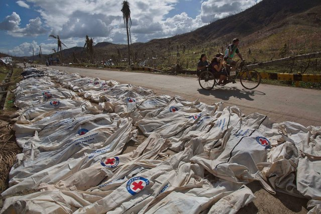 Typhoon Haiyan survivors pass by hundreds of victims lying in body bags on the roadside until forensic experts can register and bury them in a mass grave outside of Tacloban, Philippines on Tuesday November 19, 2013. (Photo by David Guttenfelder/AP Photo)