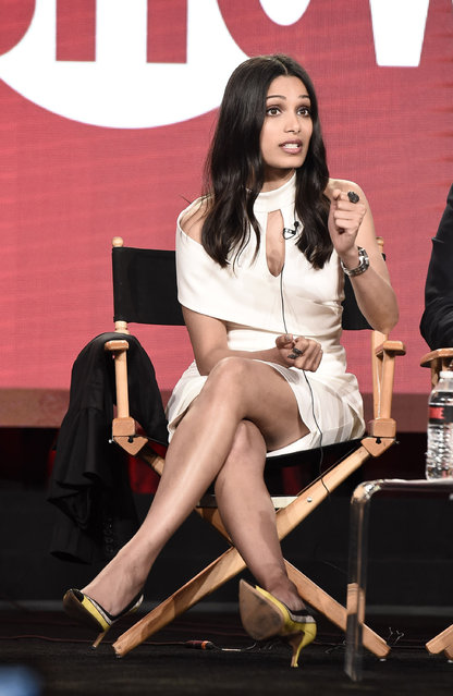 "Freida Pinto speaks at ""Guerrilla"" panel at Showtime 2017 Winter TCA at The Langham Huntington Hotel on Monday, January 9, 2017, in Pasadena, Calif. (Photo by Dan Steinberg/Invision for Showtime/AP Images)"