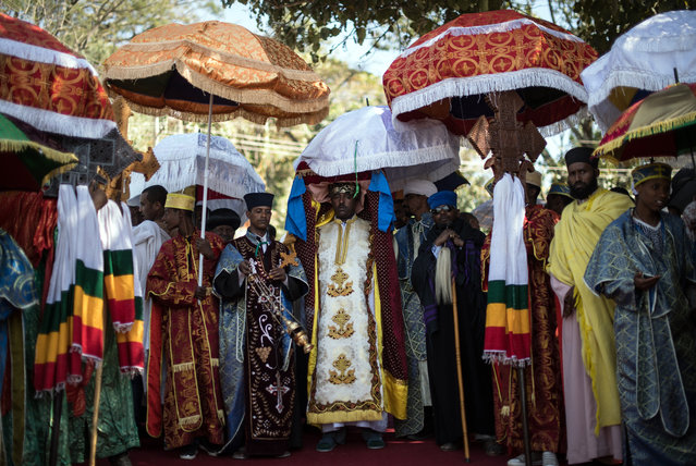 Ethiopian Orthodox priests carry a Tabot during a procession to mark the annual Timkat epiphany celebration on January 18, 2017 in Gondar, Ethiopia. (Photo by Carl Court/Getty Images)