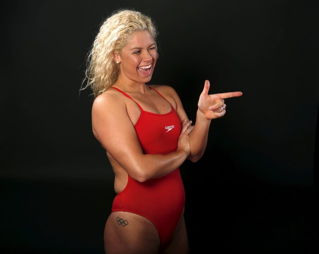 "Swimmer Elizabeth Beisel poses for a portrait at the U.S. Olympic Committee Media Summit in Beverly Hills, Los Angeles, California March 8, 2016. ""Right now I love the song called ""Confident"" by Demi Lovato; it's empowering and inspiring before I work out"", said Beisel. (Photo by Lucy Nicholson/Reuters)"
