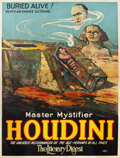 """Houdini """"Buried Alive!"""" (Otis Litho, 1926). Eight Sheet (81"""" X 106""""). The poster was created via stone lithography in eight sheets. Estimate: $14,000 - $28,000. (Photo by Courtesy Heritage Auctions)"""