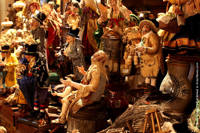 Neapolitan Christmas Nativity figurines on display at 'Maestri Ferrigno', which opened in 1836, at Via San Gregorio Armeno
