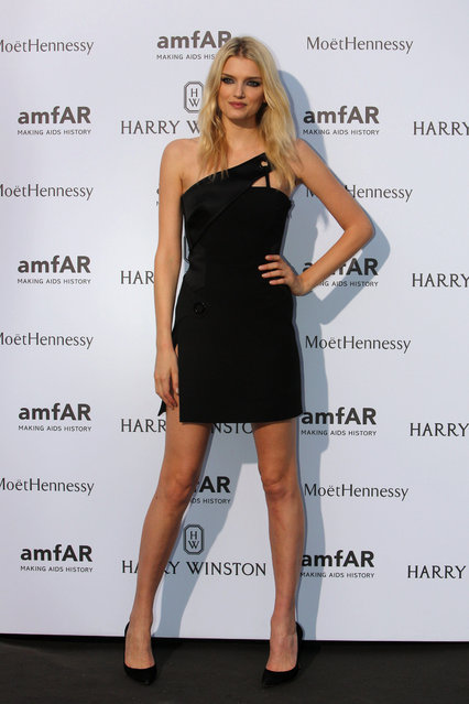 British model Lily Donaldson arrives for the AMFAR dinner, Sunday July 5 2015 in Paris, France. AmfAR, the Foundation for AIDS Research, is one of the world's leading nonprofit organizations dedicated to the support of AIDS research, HIV prevention. (Photo by Rafael Yaghobzadeh/AP Photo)