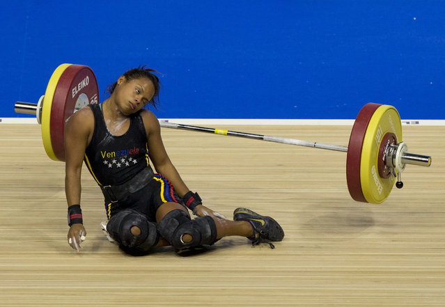 Venezuela's Genesis Rodriguez Gomez collapses during a lift attempt in the women's 53kg weightlifting at the Pan Am Games in Oshawa, Ontario, Sunday, July 12, 2015. Rodriguez took silver in the event. (Photo by Rebecca Blackwell/AP Photo)