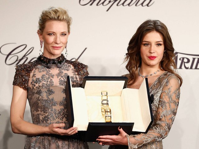 (L-R) Cate Blanchett and Adele Exarchopoulos pose onstage at the Chopard Trophy during the 67th Annual Cannes Film Festival on May 15, 2014 in Cannes, France. (Photo by Andreas Rentz/Getty Images)