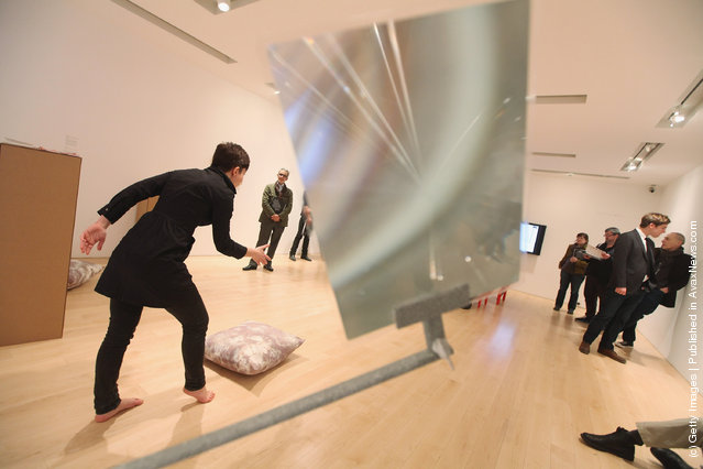 Georgia Sagri performs during a press preview of the 2012 Whitney Biennial at the Whitney Museum of American Art