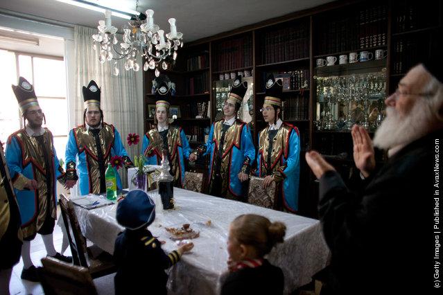 Ultra Orthodox Jews celebrate the Jewish holiday of Purim in Benei Brak, Israel