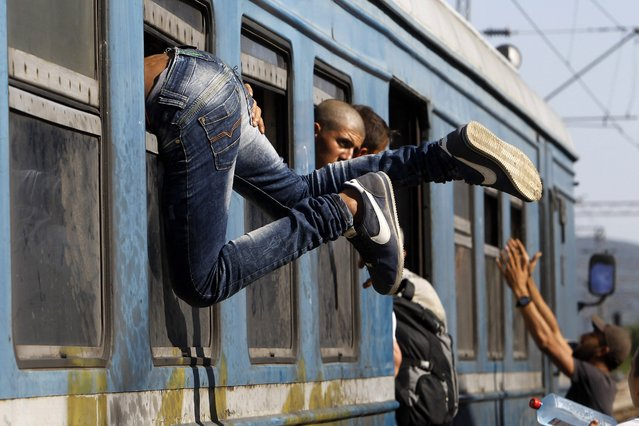 In this photo taken on Thursday, July 23, 2015 a migrant enters a train through window at the railway station in the southern Macedonian town of Gevgelija. (Photo by Boris Grdanoski/AP Photo)